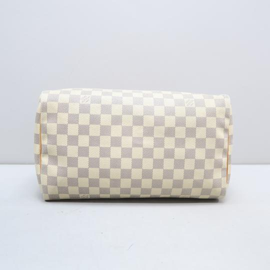 Louis Vuitton Lv Speedy 30 Azur Canvas Tote in White Image 4