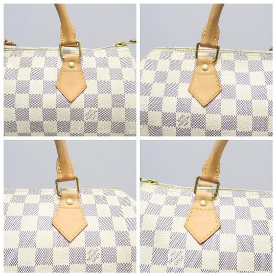 Louis Vuitton Lv Speedy 30 Azur Canvas Tote in White Image 7