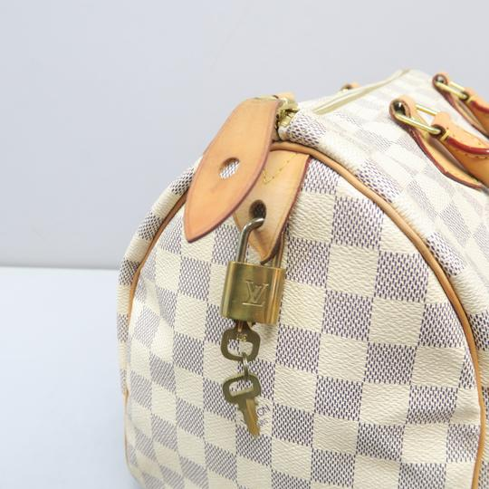 Louis Vuitton Lv Speedy 30 Azur Canvas Tote in White Image 8