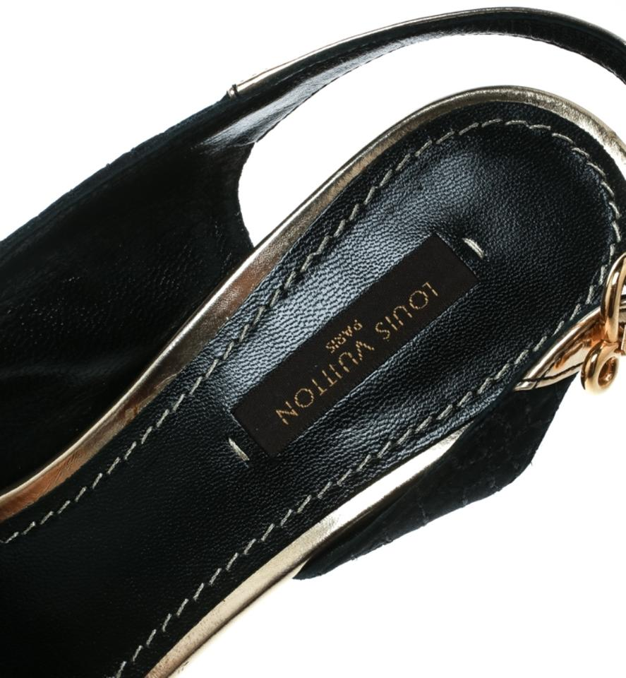 861efe0c9a28 Louis Vuitton Black Satin and Metallic Gold Leather Piccadilly Peep ...