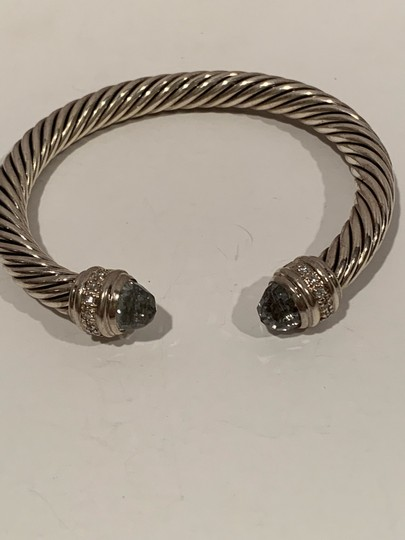 David Yurman sterling silver 7mm cable classic cuff bracelet with diamonds Image 3