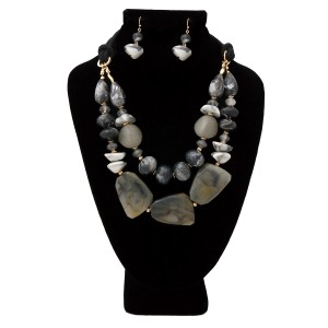 WILD FLOWER Black and Gray Marble and Stone Necklace Set