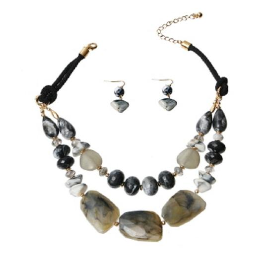 WILD FLOWER Black and Gray Marble and Stone Necklace Set Image 1