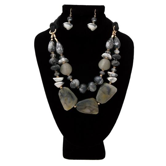 WILD FLOWER Black and Gray Marble and Stone Necklace Set Image 2