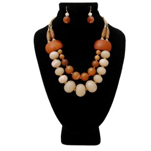 SOPHIA Light and Dark Brown Swirled Marble Bead Layered Necklace Set