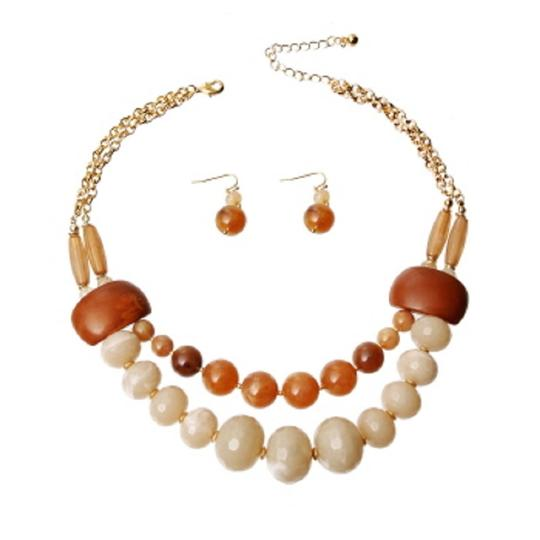 SOPHIA Light and Dark Brown Swirled Marble Bead Layered Necklace Set Image 1