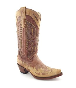 Corral Boots Eagle A2227 Brown Block Heel Cowgirl Beige Tan Boots