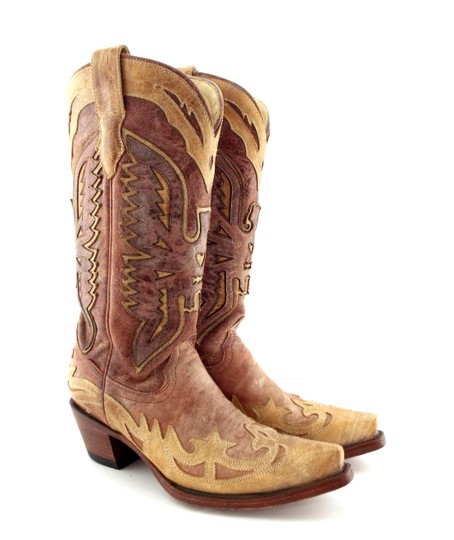 Corral Boots Eagle A2227 Brown Block Heel Cowgirl Beige Tan Boots Image 1