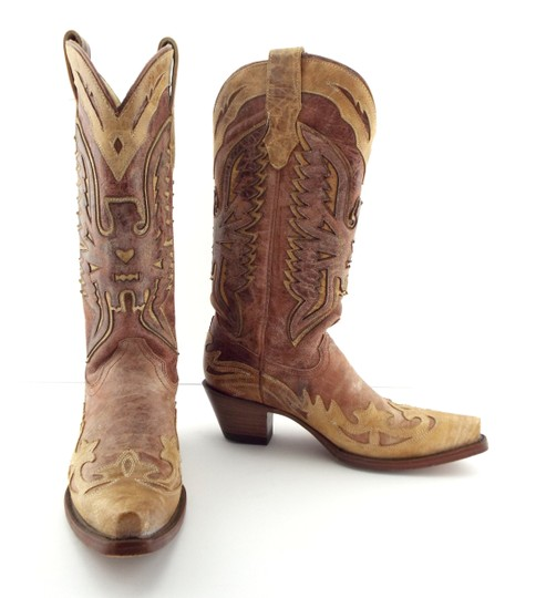 Corral Boots Eagle A2227 Brown Block Heel Cowgirl Beige Tan Boots Image 2