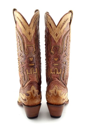 Corral Boots Eagle A2227 Brown Block Heel Cowgirl Beige Tan Boots Image 6