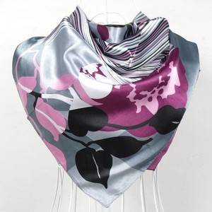 Other Grey And Purple Polyester Silk Scarf Shawl