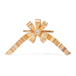 Gucci gold plated faux pearl logo hair slide