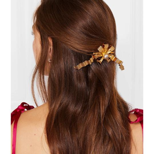 Gucci gold plated faux pearl logo hair slide Image 2