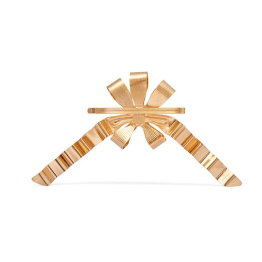 Gucci gold plated faux pearl logo hair slide Image 3