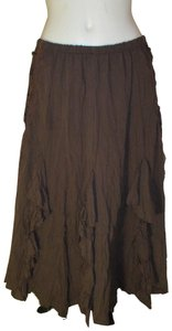 The Pyramid Collection Ruffled Fringed Boho Oo1 Onm Skirt brown