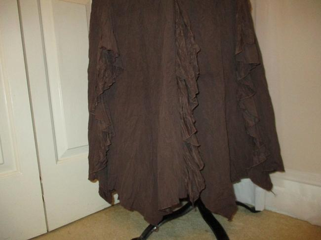 The Pyramid Collection Ruffled Fringed Boho Oo1 Onm Skirt brown Image 1