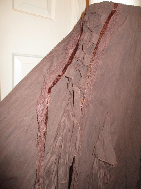 The Pyramid Collection Ruffled Fringed Boho Oo1 Onm Skirt brown Image 10
