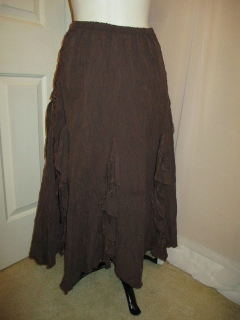 The Pyramid Collection Ruffled Fringed Boho Oo1 Onm Skirt brown Image 2