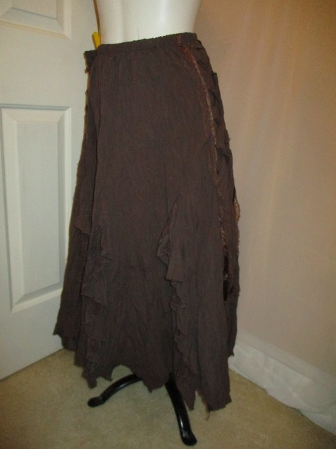 The Pyramid Collection Ruffled Fringed Boho Oo1 Onm Skirt brown Image 8