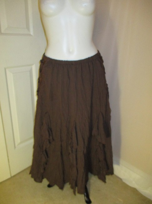 The Pyramid Collection Ruffled Fringed Boho Oo1 Onm Skirt brown Image 9
