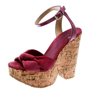 Jimmy Choo Suede Patent Leather Pink Wedges