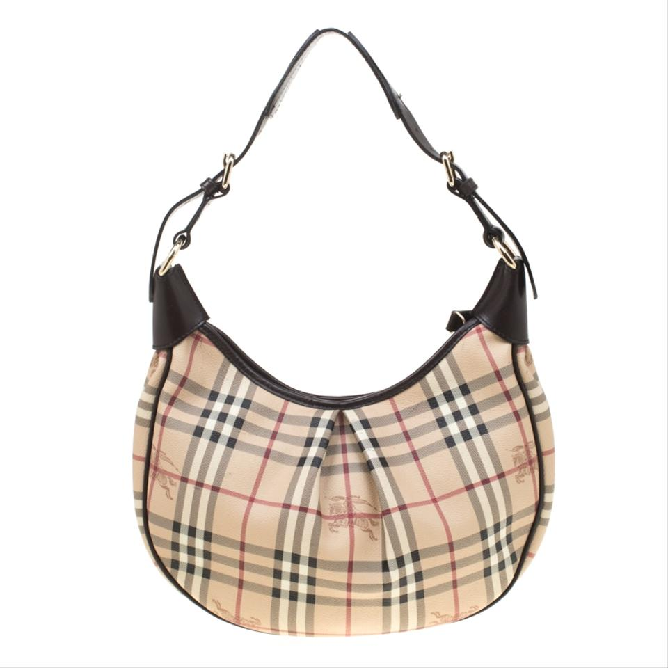 84dc0b61c205 Burberry Beige Brown Haymarket Check Pvc Beige Canvas Hobo Bag - Tradesy