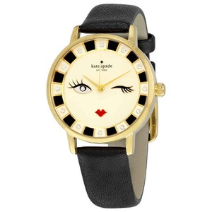 Kate Spade Crystal Gold-plated Stainless Steel Leather Quartz Round Ladies Watch