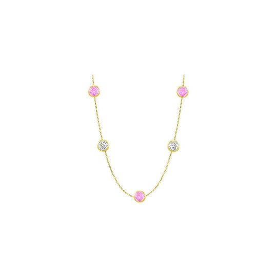 Preload https://img-static.tradesy.com/item/25192769/pink-created-sapphires-and-czs-on-14k-yellow-gold-bezel-set-5000-ctt-necklace-0-0-540-540.jpg