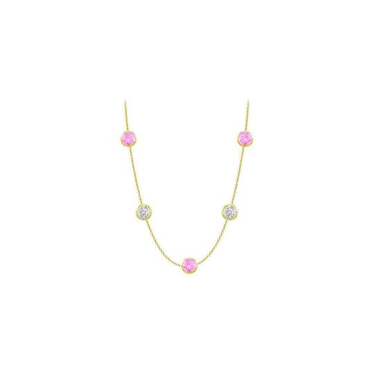 Preload https://img-static.tradesy.com/item/25192771/pink-created-sapphires-and-czs-on-14k-yellow-gold-bezel-set-3500-ctt-necklace-0-0-540-540.jpg