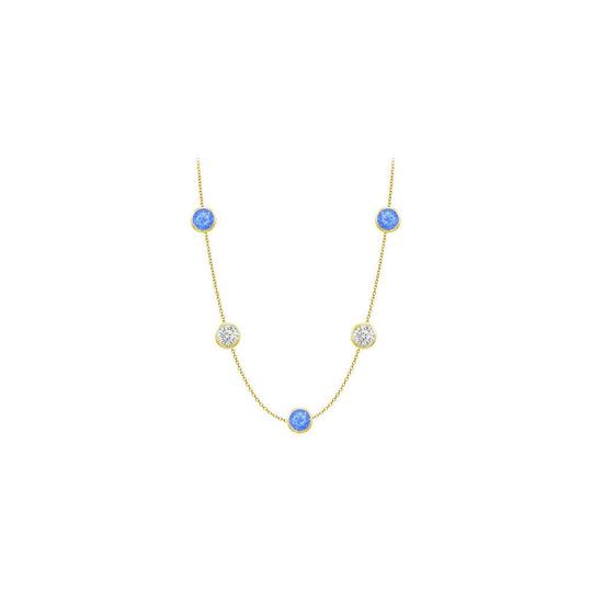 Preload https://img-static.tradesy.com/item/25192785/blue-created-sapphires-and-czs-on-14k-yellow-gold-bezel-set-3500-ctt-necklace-0-0-540-540.jpg