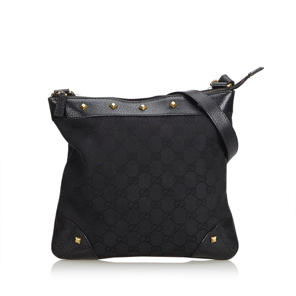 aa2b13dfc51 Gucci Jacquard Fabric Gg Italy Black Blend Leather Cross Body Bag ...
