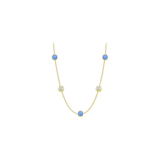 Preload https://img-static.tradesy.com/item/25192788/blue-created-sapphires-and-czs-on-14k-yellow-gold-bezel-set-2500-ctt-necklace-0-0-540-540.jpg