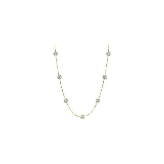 Preload https://img-static.tradesy.com/item/25192795/white-cz-14k-yellow-gold-two-carat-tgw-with-36-inch-long-necklace-0-0-540-540.jpg