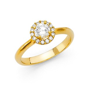 Top Gold & Diamond Jewelry Cathedral Round Halo CZ Wedding Ring in 14K Yellow Gold