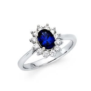 Top Gold & Diamond Jewelry Cathedral Blue Oval-Cut Halo CZ Promise Engagement Ring in 14K White