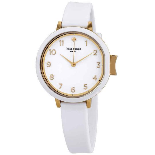 Preload https://img-static.tradesy.com/item/25192912/kate-spade-white-with-a-rose-gold-tone-rim-park-row-arabic-numeral-ssteel-quartz-round-ladies-watch-0-0-540-540.jpg