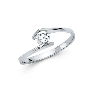 Top Gold & Diamond Jewelry Bypass Channel Round-Cut CZ Engagement Ring in 14K White Gold