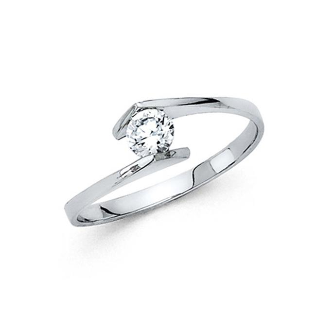 Item - White Bypass Channel Round-cut Cz Engagement In 14k Ring
