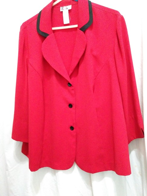 R&K Originals Casual Contrast Structured Sporty Red & Black Blazer Image 2