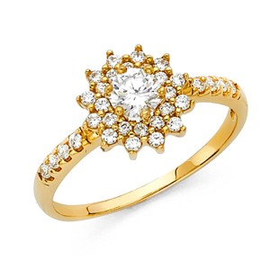 Top Gold & Diamond Jewelry Halo Starburst Round-Cut & Scalloped CZ Engagement Ring in 14K Yellow
