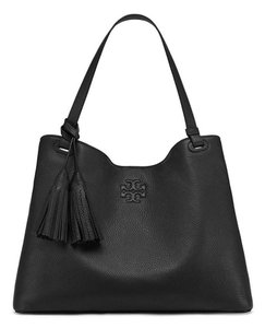 Tory Burch Leather Tassel Tote in BLACK
