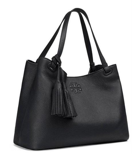 Tory Burch Leather Tassel Tote in BLACK Image 1