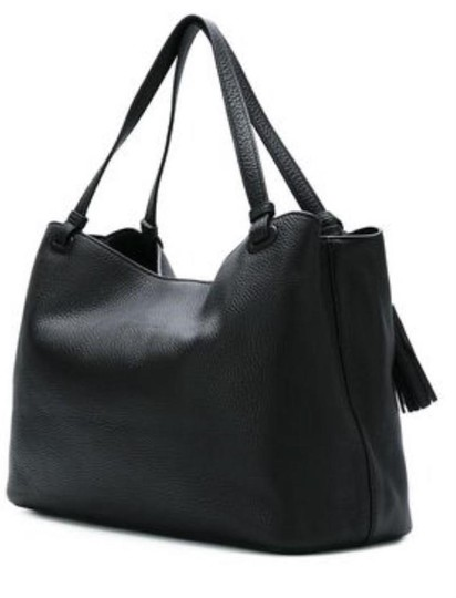 Tory Burch Leather Tassel Tote in BLACK Image 2