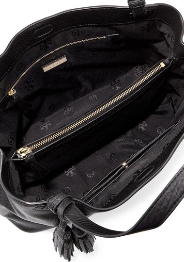 Tory Burch Leather Tassel Tote in BLACK Image 5