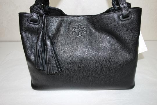 Tory Burch Leather Tassel Tote in BLACK Image 6