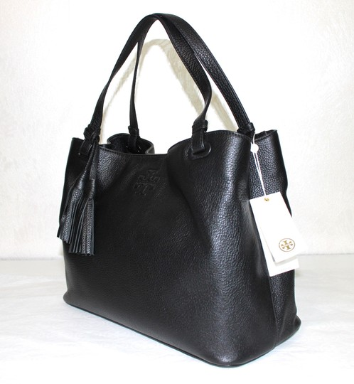 Tory Burch Leather Tassel Tote in BLACK Image 7
