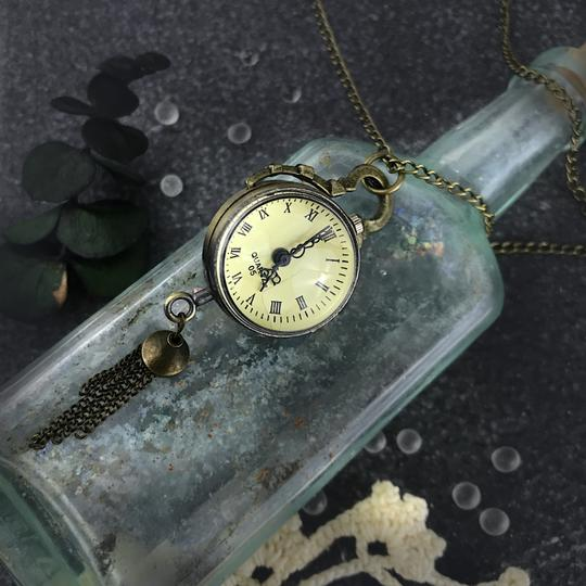 Other Glass Ball Pocket Watch Necklace Quartz Mechanical Skeleton Back Image 2