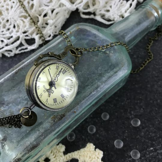 Other Glass Ball Pocket Watch Necklace Quartz Mechanical Skeleton Back Image 3
