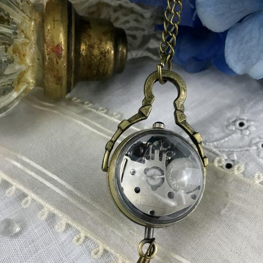 Other Glass Ball Pocket Watch Necklace Quartz Mechanical Skeleton Back Image 6