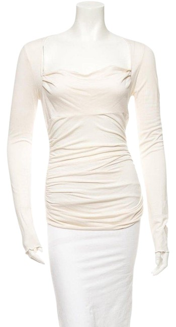Preload https://img-static.tradesy.com/item/25193204/diane-von-furstenberg-cream-long-sleeve-fitted-ruched-blouse-size-8-m-0-1-650-650.jpg